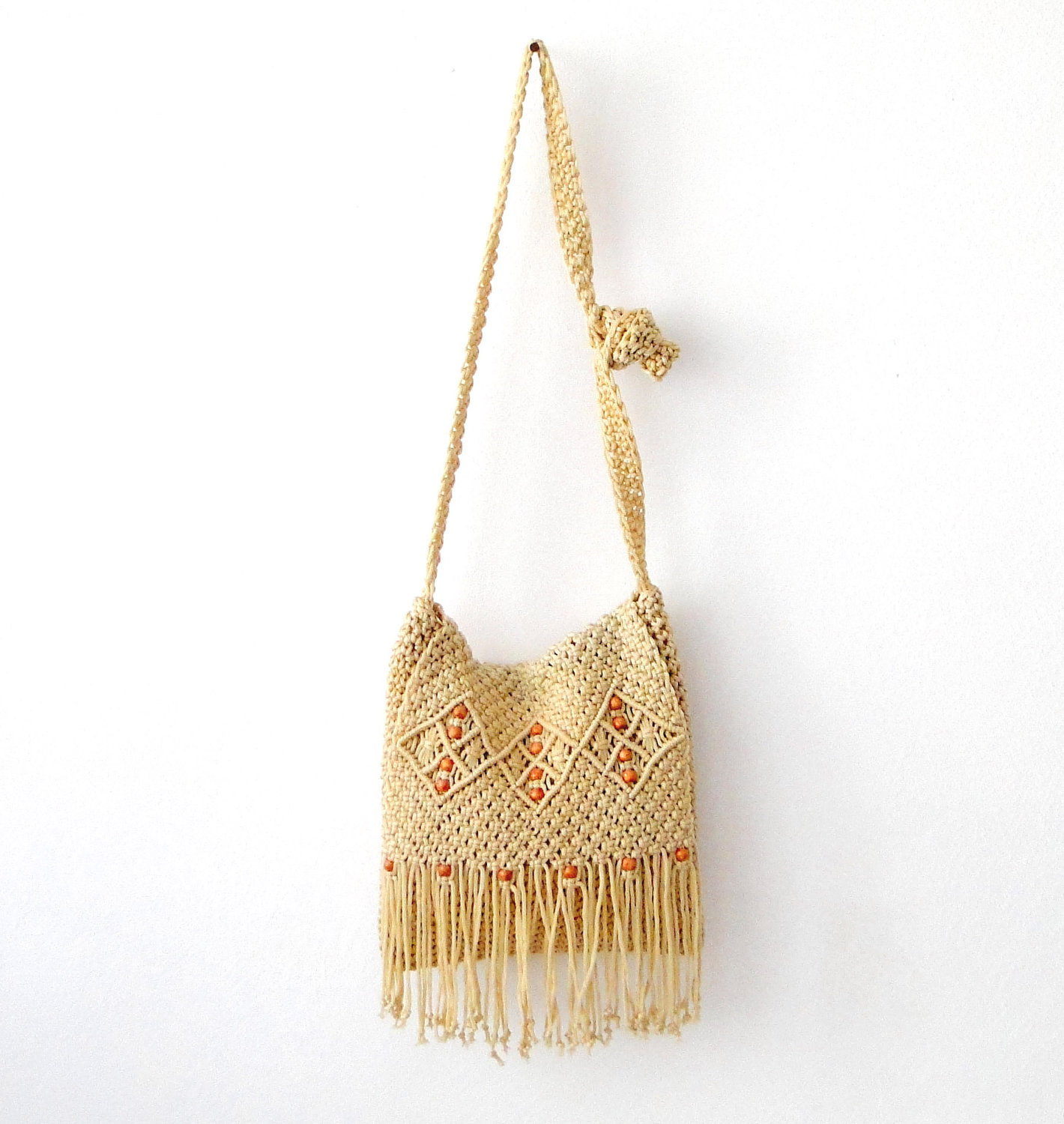 Hippie macrame crochet messenger bag Mellysse